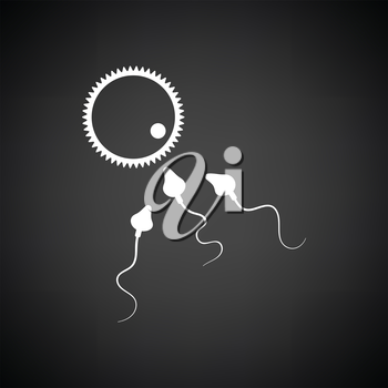 Sperm and egg cell icon. Black background with white. Vector illustration.