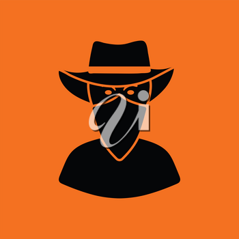 Cowboy with a scarf on face icon. Orange background with black. Vector illustration.