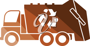 Garbage car recycle icon. Flat color design. Vector illustration.