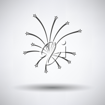 Fireworks icon on gray background, round shadow. Vector illustration.