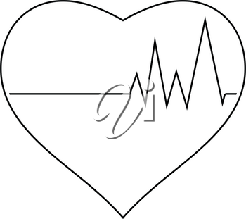 Icon of Heart with cardio diagram. Thin line design. Vector illustration.