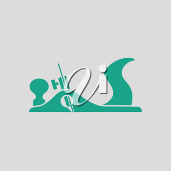 Jack-plane tool icon. Gray background with green. Vector illustration.