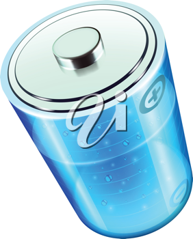 Royalty Free Clipart Image of a Blue Battery Icon