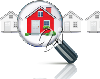 Royalty Free Clipart Image of a Magnifying Glass Over Houses