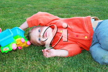 Royalty Free Photo of a Little Boy Playing Outside