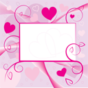 Royalty Free Clipart Image of a Valentine Greeting Card with Hearts and Swirls