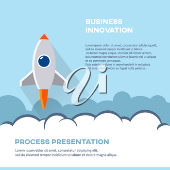 Business innovation cover page booklet template. Cartoon rocket vector illustration. Startup presentation poster background.