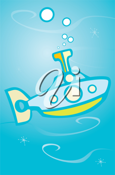 Royalty Free Clipart Image of a Toy Submarine
