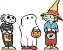 Royalty Free Clipart Image of Children in Costumes