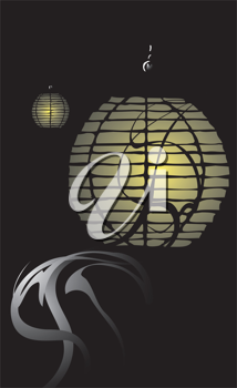 Royalty Free Clipart Image of a Japanese Lantern