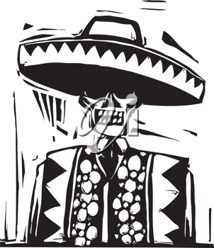 Royalty Free Clipart Image of a Day of the Dead Skeleton