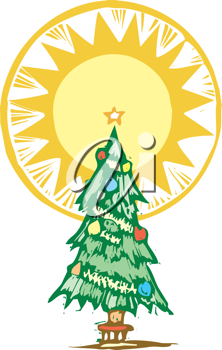 Royalty Free Clipart Image of a Christmas Tree With a Halo