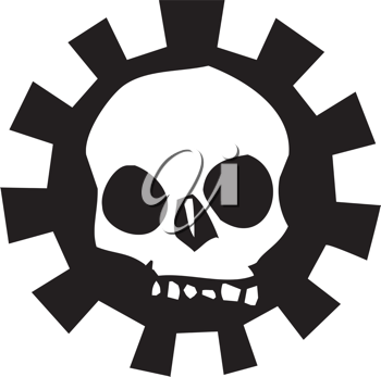 Royalty Free Clipart Image of a Skull in a Mechanical Gear