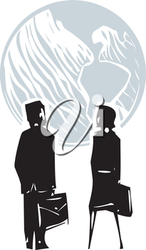 Woodcut style expressionistic image of a business man and woman facing globe the earth