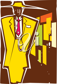 Woodcut style image of a man in zoot suit.