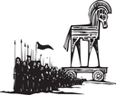 Woodcut style expressionist image of the Greek Trojan Horse with an army walking from it.