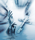 Abstract religious background with the Christian cross and stretching hands to the sky