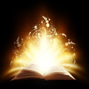 Magic open book with light and ornate on a black background