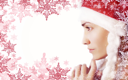 White background with a girl in Santa hat and a snowflake
