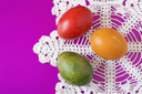 Royalty Free Photo of Easter Eggs on a Napkin