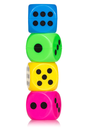 Stack of colorful dice,  isolated on white background