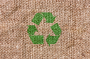 Eco bag background  with green recycle sign
