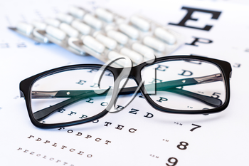Black glasses and blister of tablets on the eye exam chart