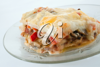 Delicious italian lasagne on a plate