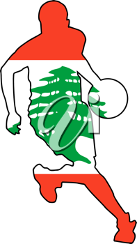 Royalty Free Clipart Image of a Basketball Player in the Lebanese Flag Colours