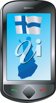 Mobile phone with flag and map of Finland