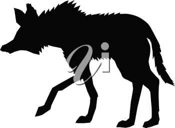 silhouette of maned wolf, side view