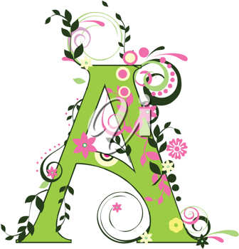Royalty Free Clipart Image of a Floral Letter
