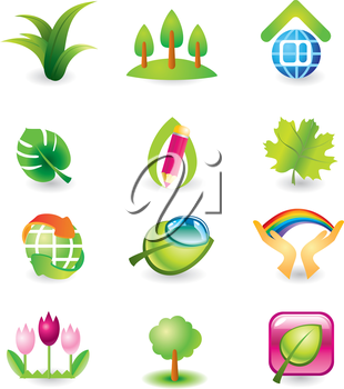 Set of vector design elements. Nature.