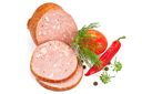 Pork sausage with red tomatoes, cayenne, peas several allspice, dill sprig and umbrellas isolated on a white background