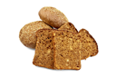 Four slices of rye grain bread, two rye bun with sesame seeds isolated on white background