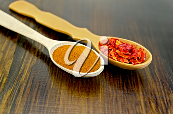 Powder and flakes of red pepper in wooden spoons on a wooden board