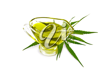 Hemp oil in a glass sauceboat, cannabis leaves and stalks  isolated on white background