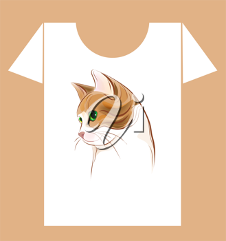 Royalty Free Clipart Image of a Cat T-Shirt