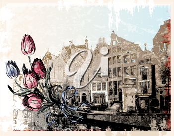 Royalty Free Clipart Image of a Vintage Illustration of an Amsterdam Street