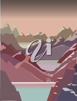 Royalty Free Clipart Image of a Mountain Landscape