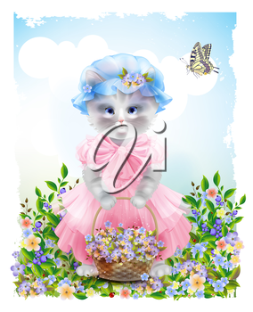 Portrait of the  funny cat dressed in  the pink frock with basket full of flowers. Summer meadow. Birthday card. Holiday congratulation. Greeting card. Beautiful landscape with butterfly.