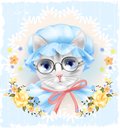 Vintage portrait of the cat with glasses and roses. Victorian style