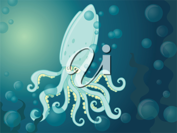 Royalty Free Clipart Image of a Squid