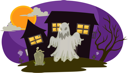 Royalty Free Clipart Image of a Ghost and Tombstone Outside a House
