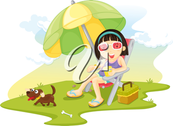 Royalty Free Clipart Image of a Girl in a Chair With a Dog
