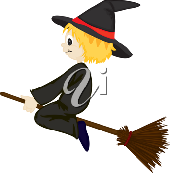 Royalty Free Clipart Image of a Witch on a Broomstick