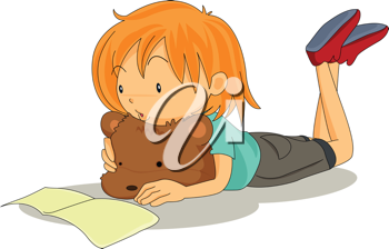 Royalty Free Clipart Image of a Little Girl With a Teddy Bear Reading a Book