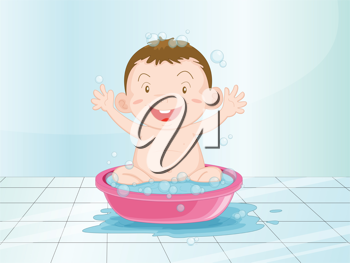 Illustration of a baby having a bath