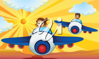 illustration of kids driving an aeroplane