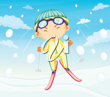 Illustration of girl ski jumping